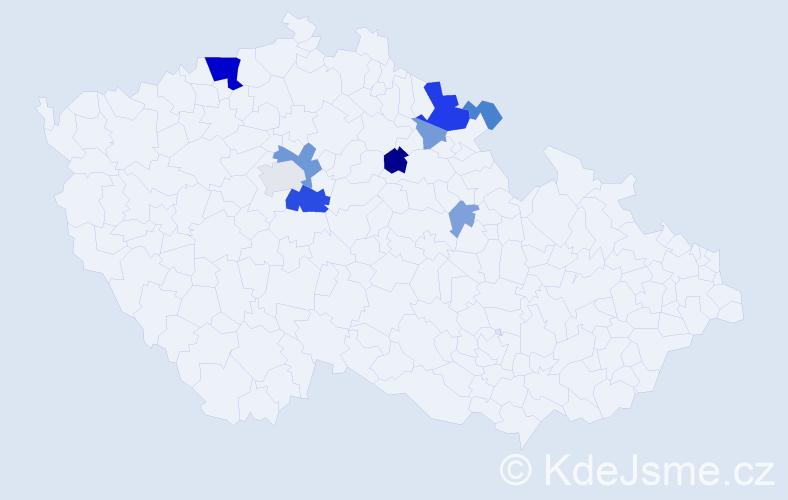 Příjmení: 'Doulík', počet výskytů 28 v celé ČR