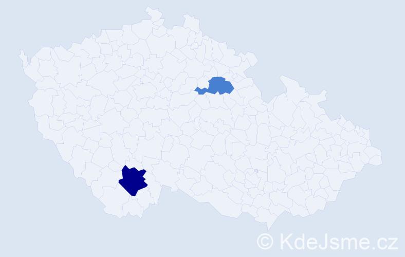 Příjmení: 'Čurý', počet výskytů 3 v celé ČR