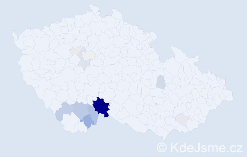 Příjmení: 'Kocarová', počet výskytů 50 v celé ČR