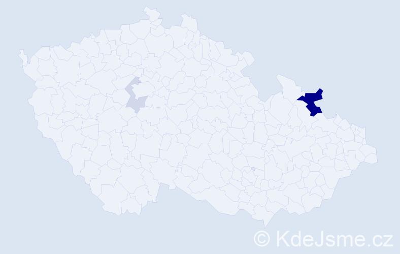 Příjmení: 'Hud', počet výskytů 8 v celé ČR