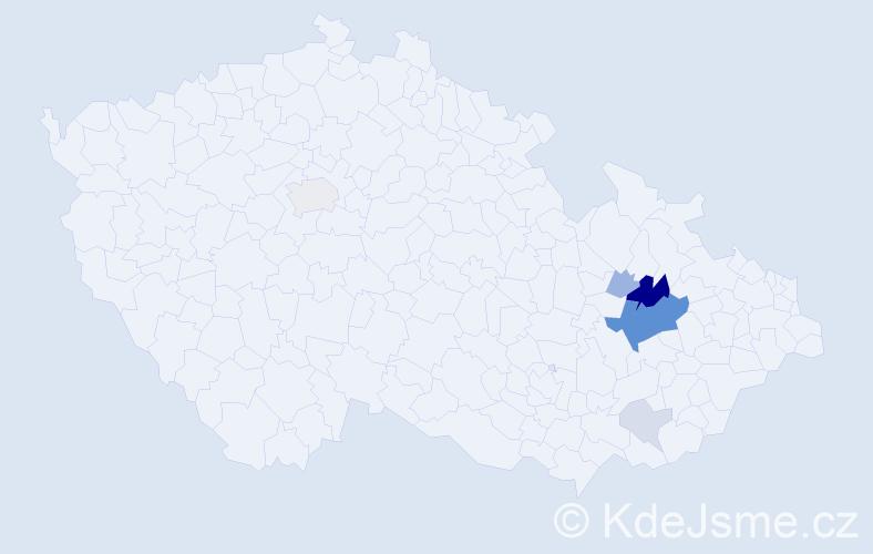 Příjmení: 'Čouková', počet výskytů 22 v celé ČR