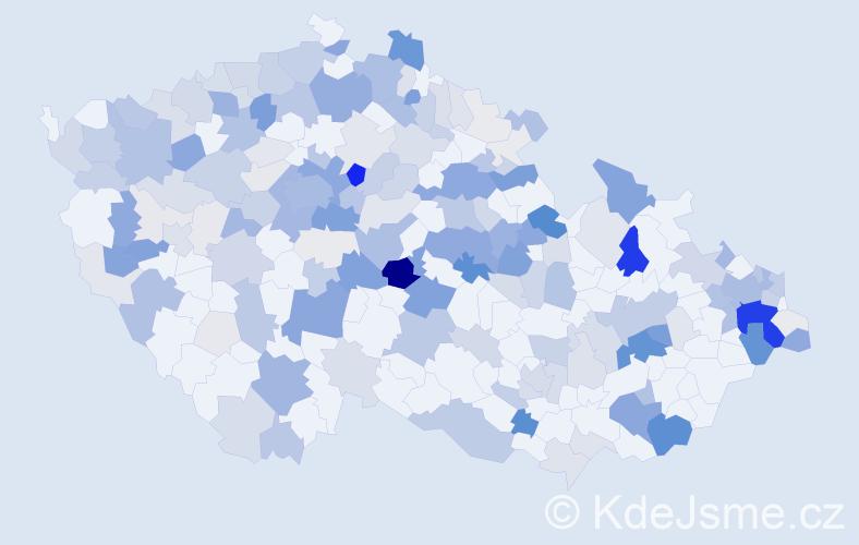 Příjmení: 'Kavka', počet výskytů 801 v celé ČR