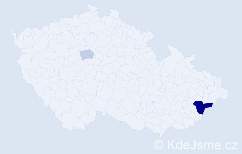 Příjmení: 'Einšpigelová', počet výskytů 2 v celé ČR