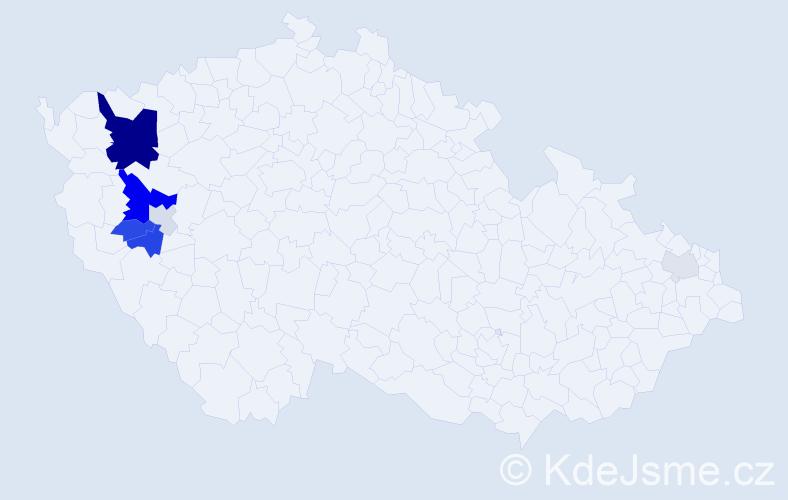 Příjmení: 'Čábal', počet výskytů 23 v celé ČR