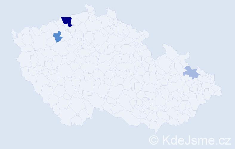 Příjmení: 'Kaadenová', počet výskytů 9 v celé ČR