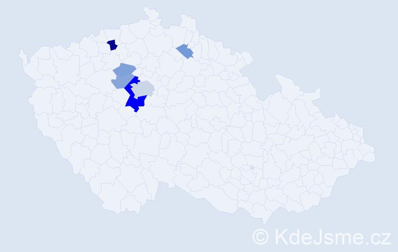 Příjmení: 'Dejm', počet výskytů 18 v celé ČR