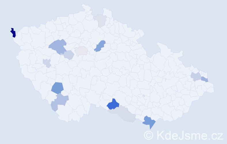 Příjmení: 'Hrúzová', počet výskytů 35 v celé ČR