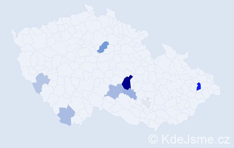 Příjmení: 'Frendl', počet výskytů 20 v celé ČR