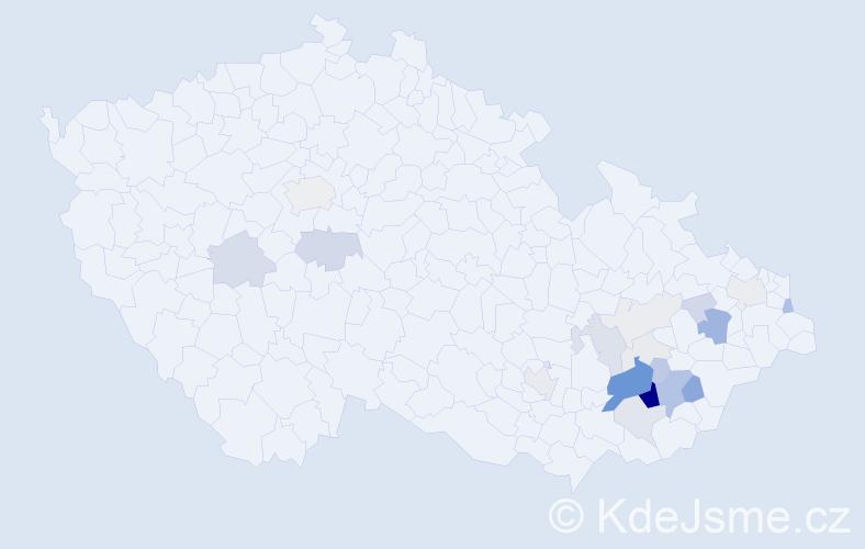 Příjmení: 'Gabrhelík', počet výskytů 98 v celé ČR