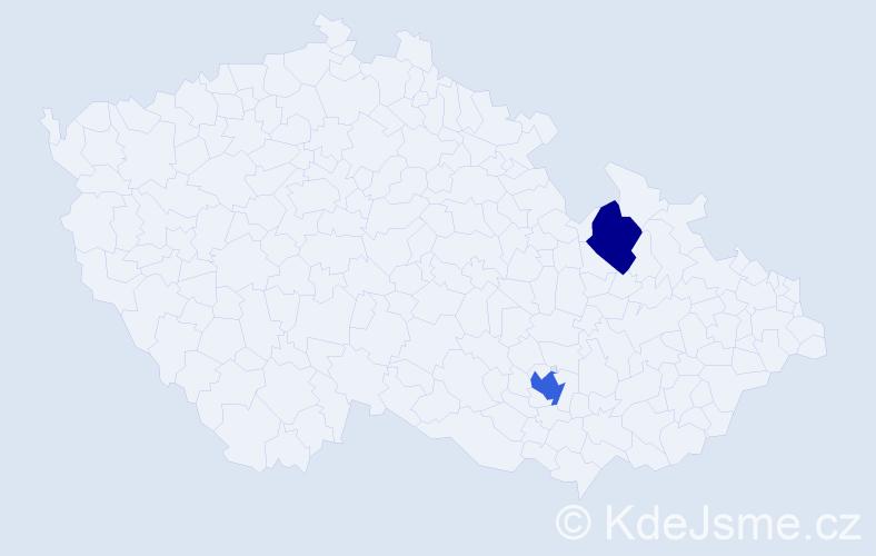Příjmení: 'Kjučuková', počet výskytů 3 v celé ČR