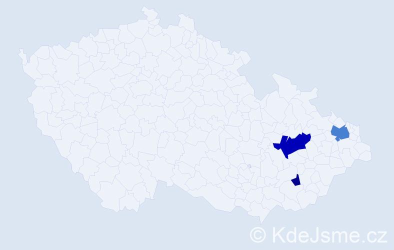 Příjmení: 'Derli', počet výskytů 7 v celé ČR