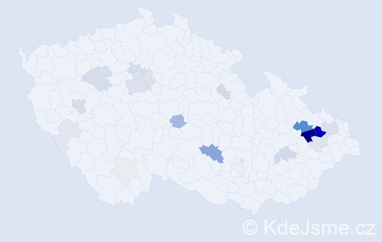 Příjmení: 'Blahetová', počet výskytů 80 v celé ČR