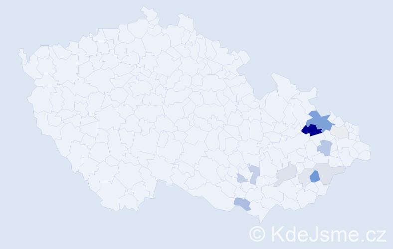 Příjmení: 'Imrýšek', počet výskytů 24 v celé ČR