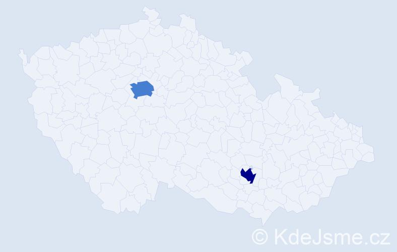 Příjmení: 'Carlos', počet výskytů 5 v celé ČR