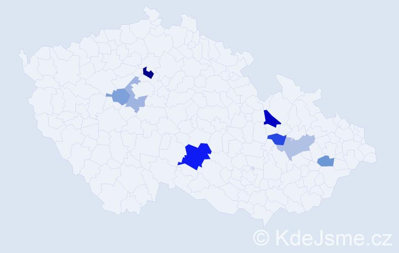 Příjmení: 'Eigelová', počet výskytů 13 v celé ČR