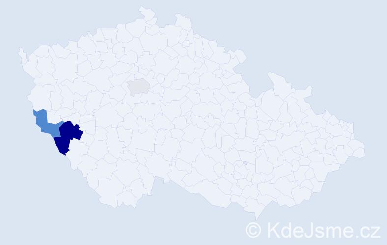 Příjmení: 'Bačeová', počet výskytů 14 v celé ČR