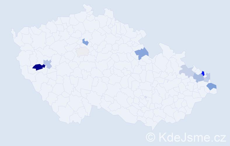 Příjmení: 'Banasová', počet výskytů 20 v celé ČR