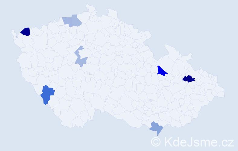 Příjmení: 'Haschke', počet výskytů 9 v celé ČR