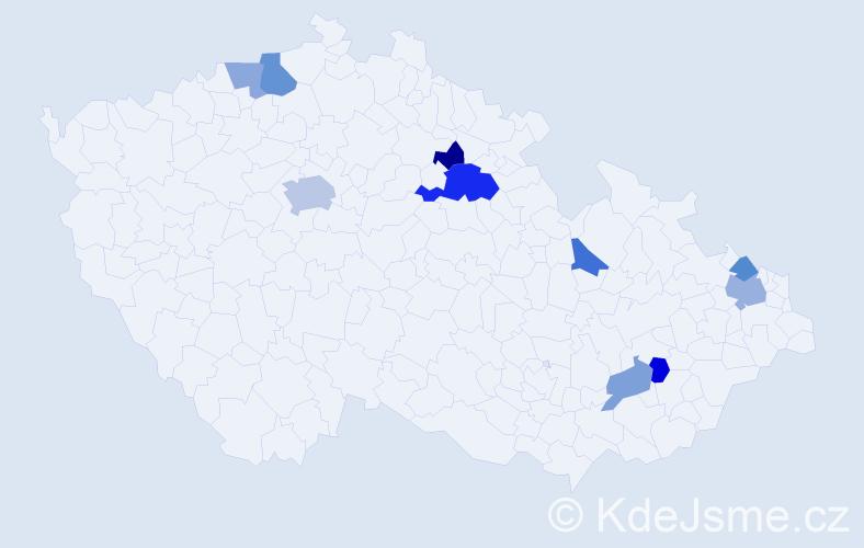 Příjmení: 'Honegrová', počet výskytů 18 v celé ČR