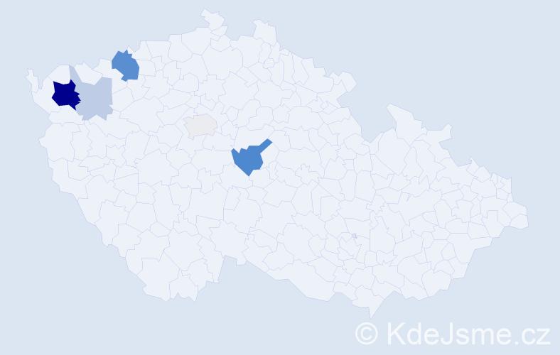 Příjmení: 'Bazoni', počet výskytů 18 v celé ČR