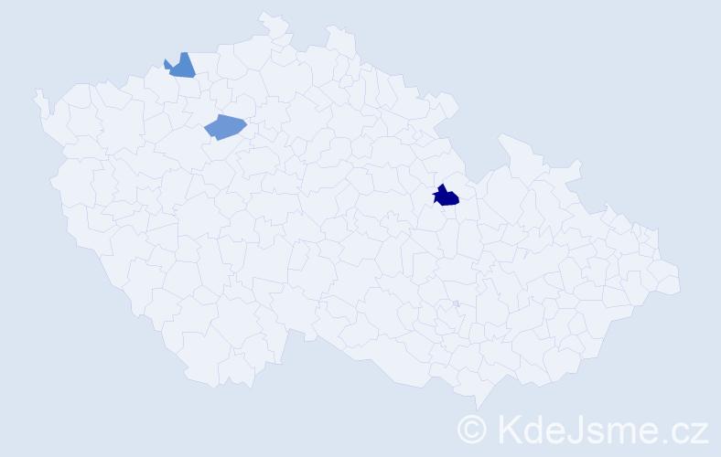 Příjmení: 'Čevona', počet výskytů 13 v celé ČR