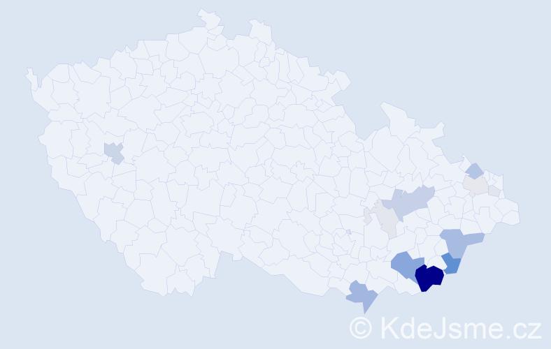 Příjmení: 'Bistrý', počet výskytů 55 v celé ČR