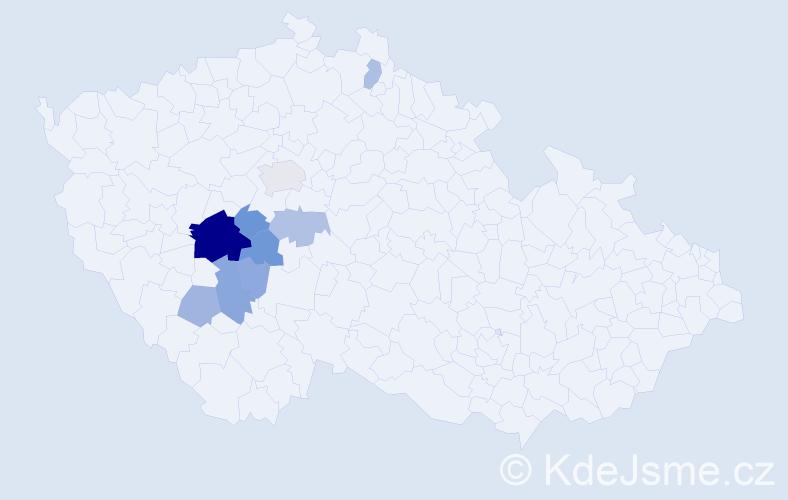Příjmení: 'Čejdík', počet výskytů 36 v celé ČR