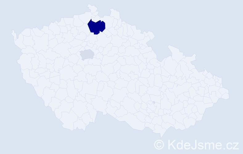 Příjmení: 'Kabanova', počet výskytů 3 v celé ČR