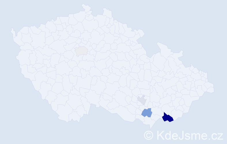 Příjmení: 'Kaštalánová', počet výskytů 7 v celé ČR