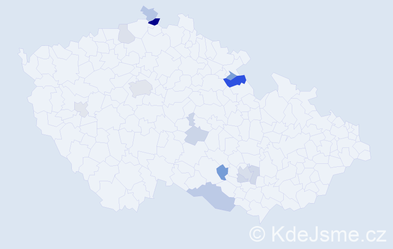 Příjmení: 'Hulán', počet výskytů 25 v celé ČR