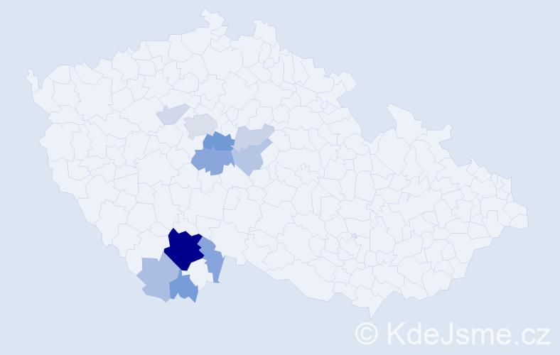 Příjmení: 'Dejčmarová', počet výskytů 34 v celé ČR