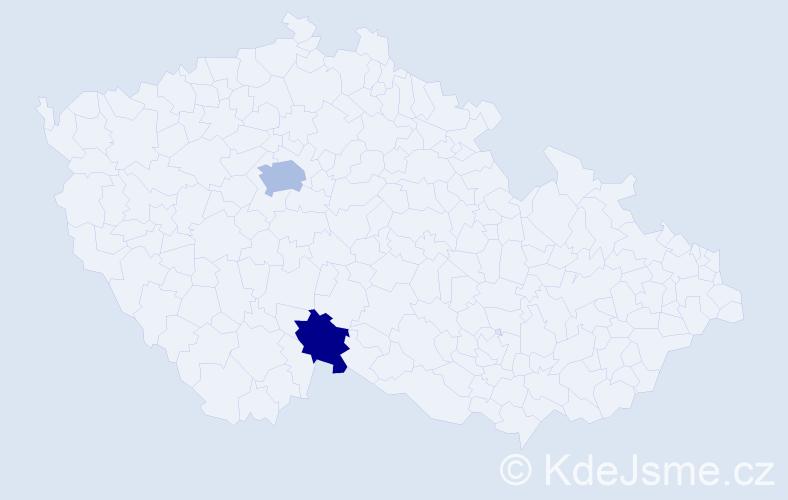 Příjmení: 'Breinhölder', počet výskytů 3 v celé ČR