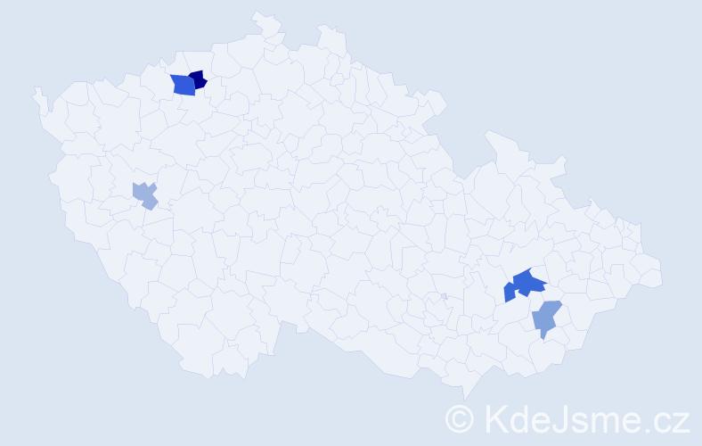 Příjmení: 'Hoffejová', počet výskytů 7 v celé ČR