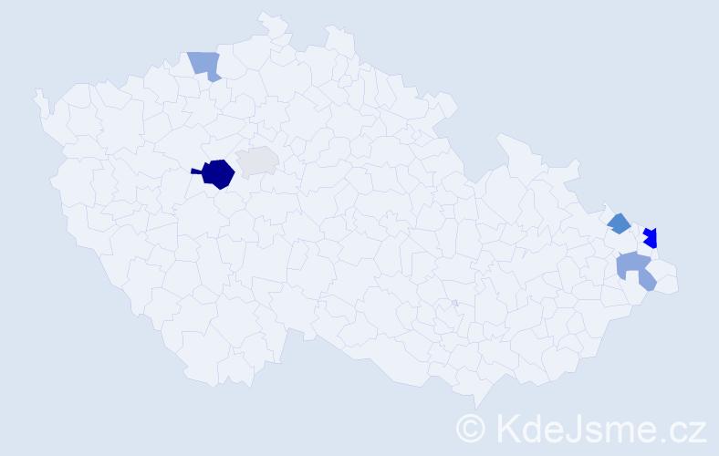 Příjmení: 'Chrobak', počet výskytů 10 v celé ČR
