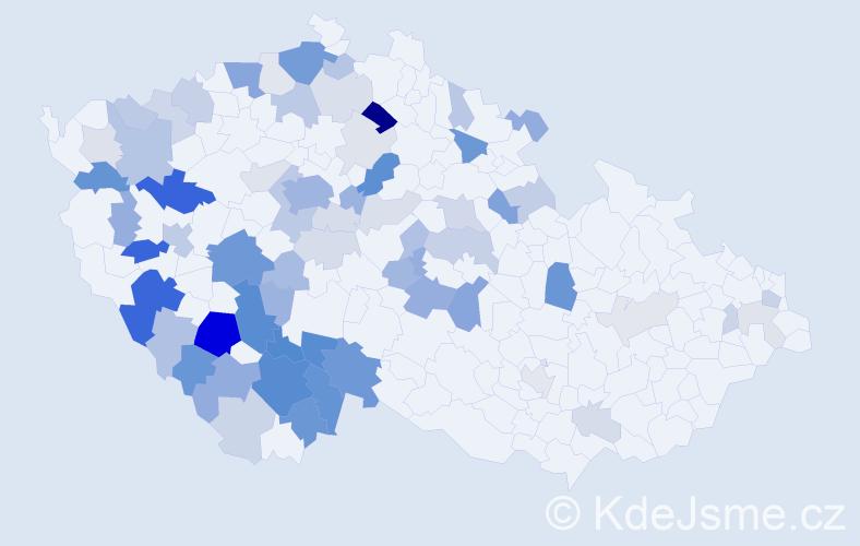 Příjmení: 'Jáchymová', počet výskytů 200 v celé ČR