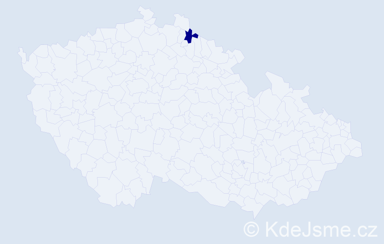 """Příjmení: '""""Jurenková Vávrová""""', počet výskytů 1 v celé ČR"""