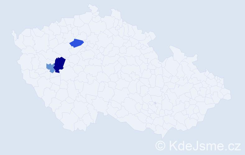 Příjmení: 'Gregorcová', počet výskytů 5 v celé ČR