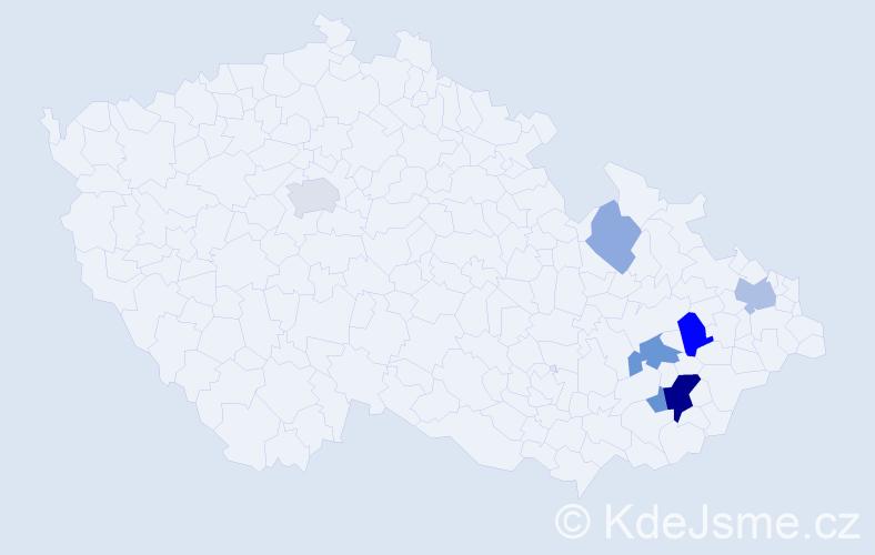 Příjmení: 'Kalupová', počet výskytů 16 v celé ČR