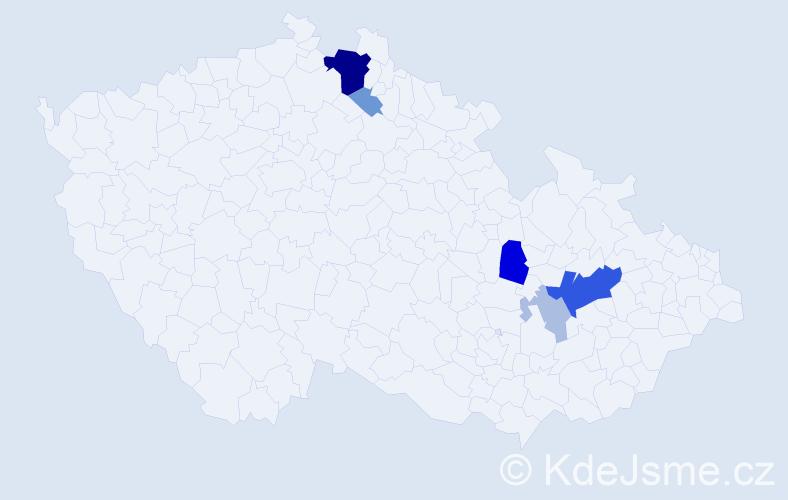 Příjmení: 'Čubrdová', počet výskytů 19 v celé ČR