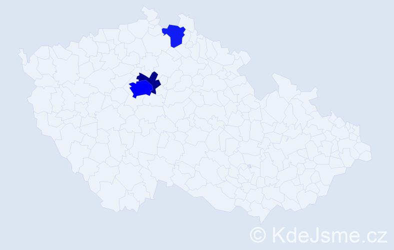 Příjmení: 'Čikarová', počet výskytů 9 v celé ČR