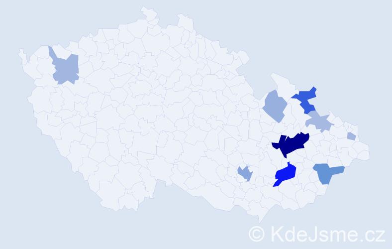 Příjmení: 'Batová', počet výskytů 25 v celé ČR