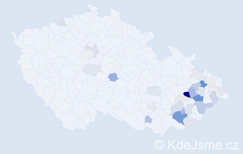 Příjmení: 'Libosvár', počet výskytů 75 v celé ČR