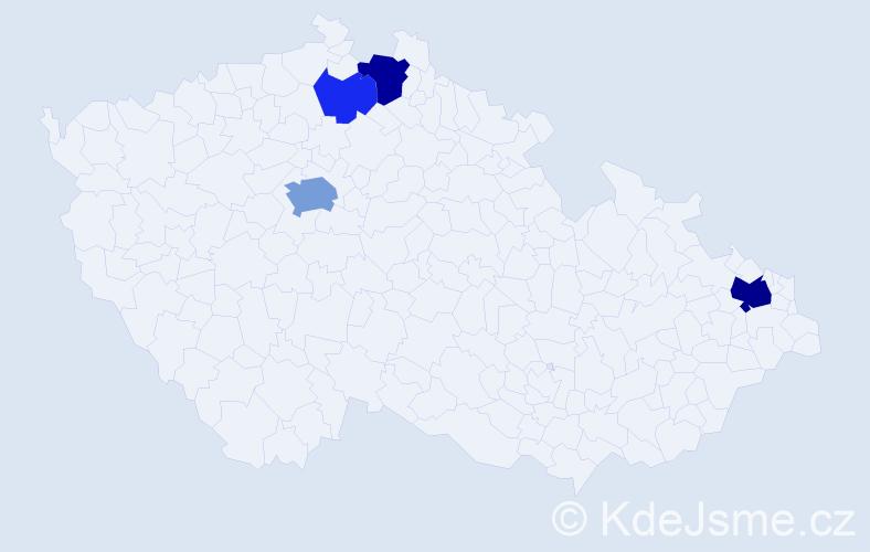 Příjmení: 'Hamrský', počet výskytů 11 v celé ČR