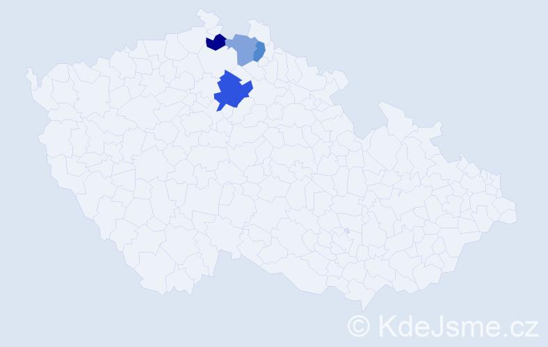 Příjmení: 'Kutloch', počet výskytů 5 v celé ČR