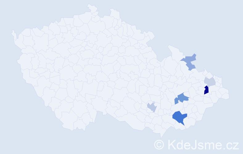 Příjmení: 'Kylhof', počet výskytů 19 v celé ČR