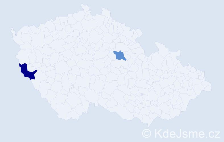 Příjmení: 'Ąahký', počet výskytů 2 v celé ČR