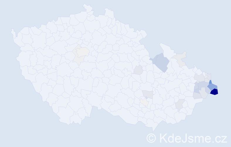 Příjmení: 'Drongová', počet výskytů 111 v celé ČR