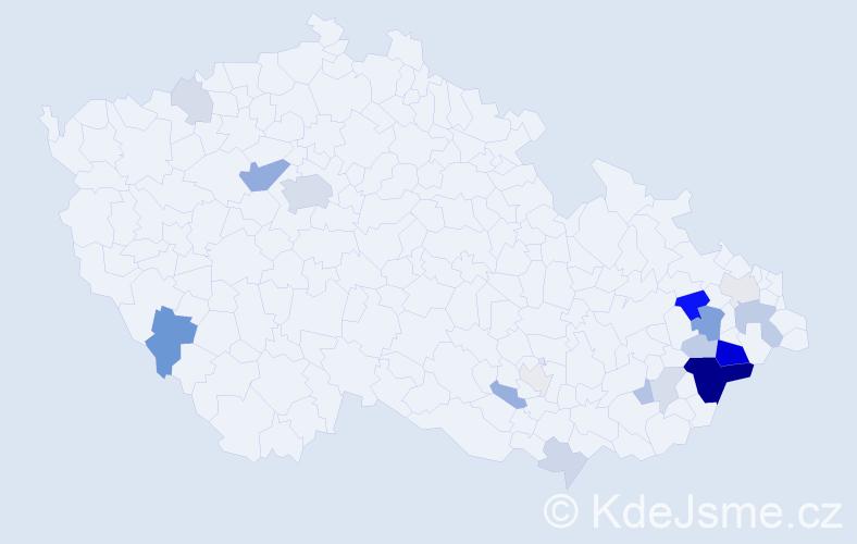 Příjmení: 'Kretík', počet výskytů 52 v celé ČR
