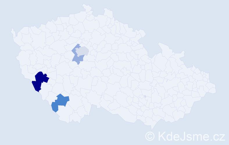 Příjmení: 'Čumpelová', počet výskytů 7 v celé ČR