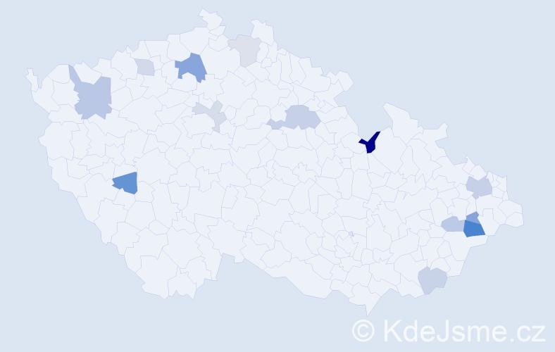 Příjmení: 'Illichmann', počet výskytů 24 v celé ČR